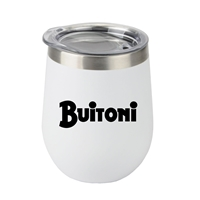 Promotional 12oz. Stemless Wine Glass with Stainless Steel Band in White