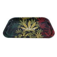 Promotional Custom Black Tin Tray with Large Leaf Design
