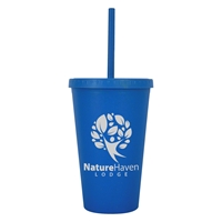 Custom 16 oz. Newport Wheat Travel Tumbler in Blue