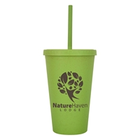 Promotional Custom 16 oz. Newport Wheat Travel Tumbler in Green