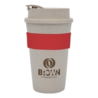 Promotional 16 oz. Wheat Travel Tumbler with Red Band