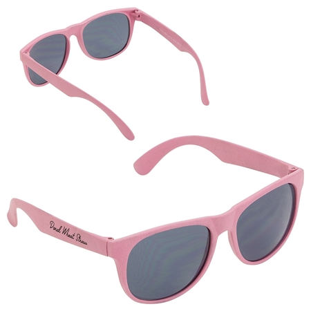 Promotional Custom Pink Wheat Straw Sunglasses