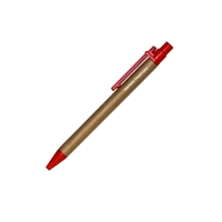 Promotional Custom Recycled Eco Friendly Ballpoint Pen with Red Accents