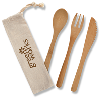 Promotional Custom 3 Piece Bamboo Utensil Set