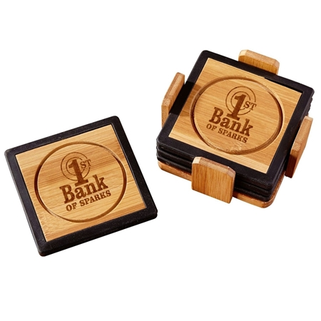 Custom Promotional Bamboo and Silicone Coaster Set in Black