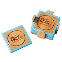 Promotional Bamboo and Silicone Coaster Set in Blue