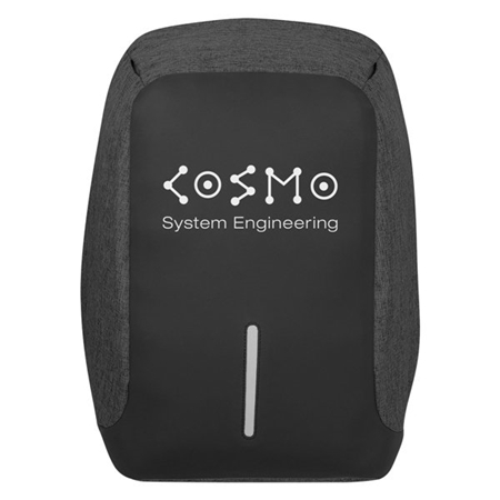 Custom Promotional Anti-Theft Backpack in Black on Black