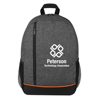 Promotional Printed Rambler Backpack with Orange Accents