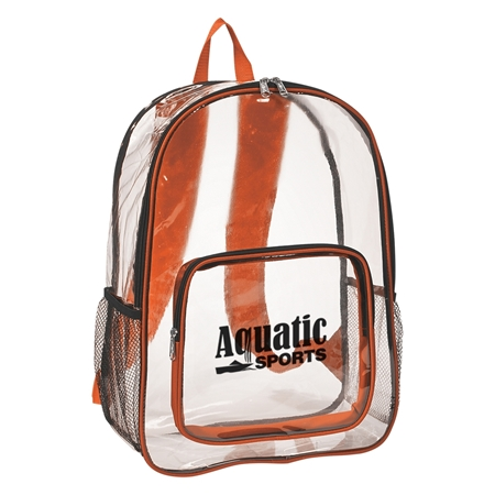 Custom Promotional Clear Backpack in Orange