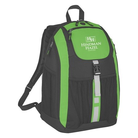 Custom Promotional Deluxe Backpack in Lime Green