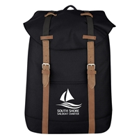 Promotional Custom Black Flap Drawstring Backpack