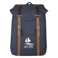 Custom Navy Flap Drawstring Backpack
