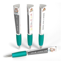 Custom Printed 3 Sided Ad Pen in Teal