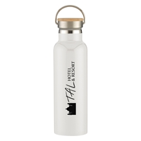 Custom Promotional 21 oz. Tipton Stainless Steel Bottle with Bamboo Lid in White