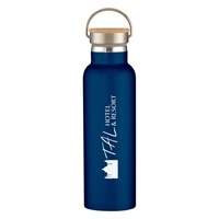 Promotional Navy 21 oz. Tipton Stainless Steel Bottle with Bamboo Lid