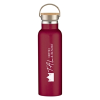 Custom Maroon 21 oz. Tipton Stainless Steel Bottle with Bamboo Lid