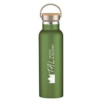 Custom 21 oz. Tipton Stainless Steel Bottle with Bamboo Lid in Green