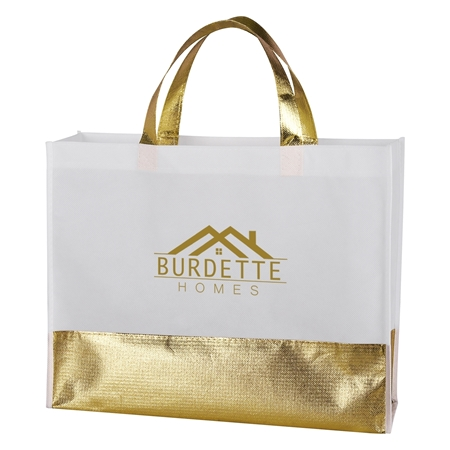 Custom Promotional Flair Metallic Accent Non-Woven Tote Bag in Gold