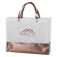 Custom Flair Metallic Accent Non-Woven Tote Bag in Rose Gold