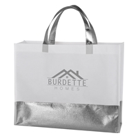 Promotional Flair Metallic Accent Non-Woven Tote Bag in Silver