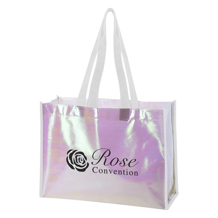 Custom Promotional Mini Pearl Laminated Non-Woven Tote Bag with White Accents