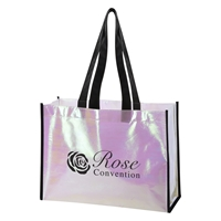Custom Promotional Mini Pearl Laminated Non-Woven Tote Bag with Black Accents
