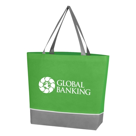 Custom Promotional Non Woven Overtime Tote Bag in Lime Green