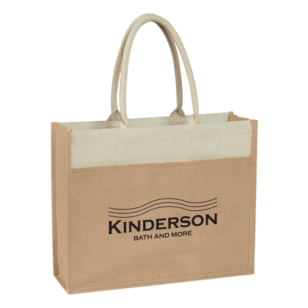 Custom Promotional Beige Jute Tote Bag with Front Pocket