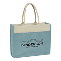 Custom Promotional Jute Tote Bag with Front Pocket in Light Blue
