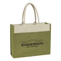 Custom Jute Tote Bag with Front Pocket in Light Green