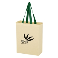 Custom Promotional Green Handled Natural Cotton Canvas Grocery Tote Bag