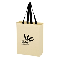 Custom Promotional Natural Cotton Canvas Grocery Tote Bag with Black Handles