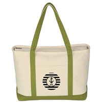 Promotional Custom Large Heavy Cotton Canvas Boat Tote Bag in Lime Green