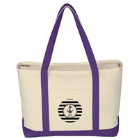 Promotional Custom Purple Large Heavy Cotton Canvas Boat Tote Bag