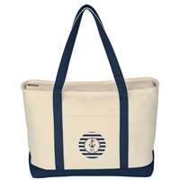 Promotional Navy Large Heavy Cotton Canvas Boat Tote Bag