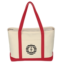 Promotional Large Heavy Cotton Canvas Boat Tote Bag in Red