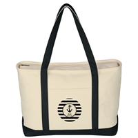 Custom Large Heavy Cotton Canvas Boat Tote Bag in Black
