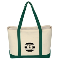 Custom Forest Green Large Heavy Cotton Canvas Boat Tote Bag