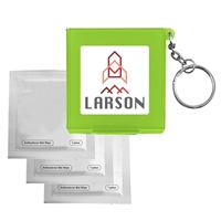 Imprinted Antiseptic Wipes In Carrying Case Keychain