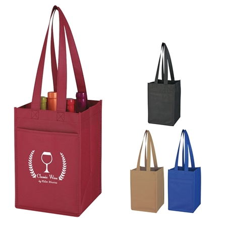 Promotional Non-Woven 4 Bottle Wine Tote Bag