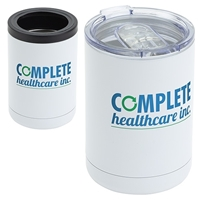 12 oz. Vacuum Insulated Stainless Steel Tumbler + Can Cooler imprinted with your logo